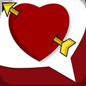 Amor em frases românticas e mensagens de paixão. icon