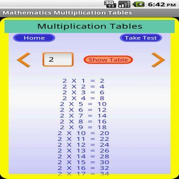 Maths Multiplication Table screenshot 1