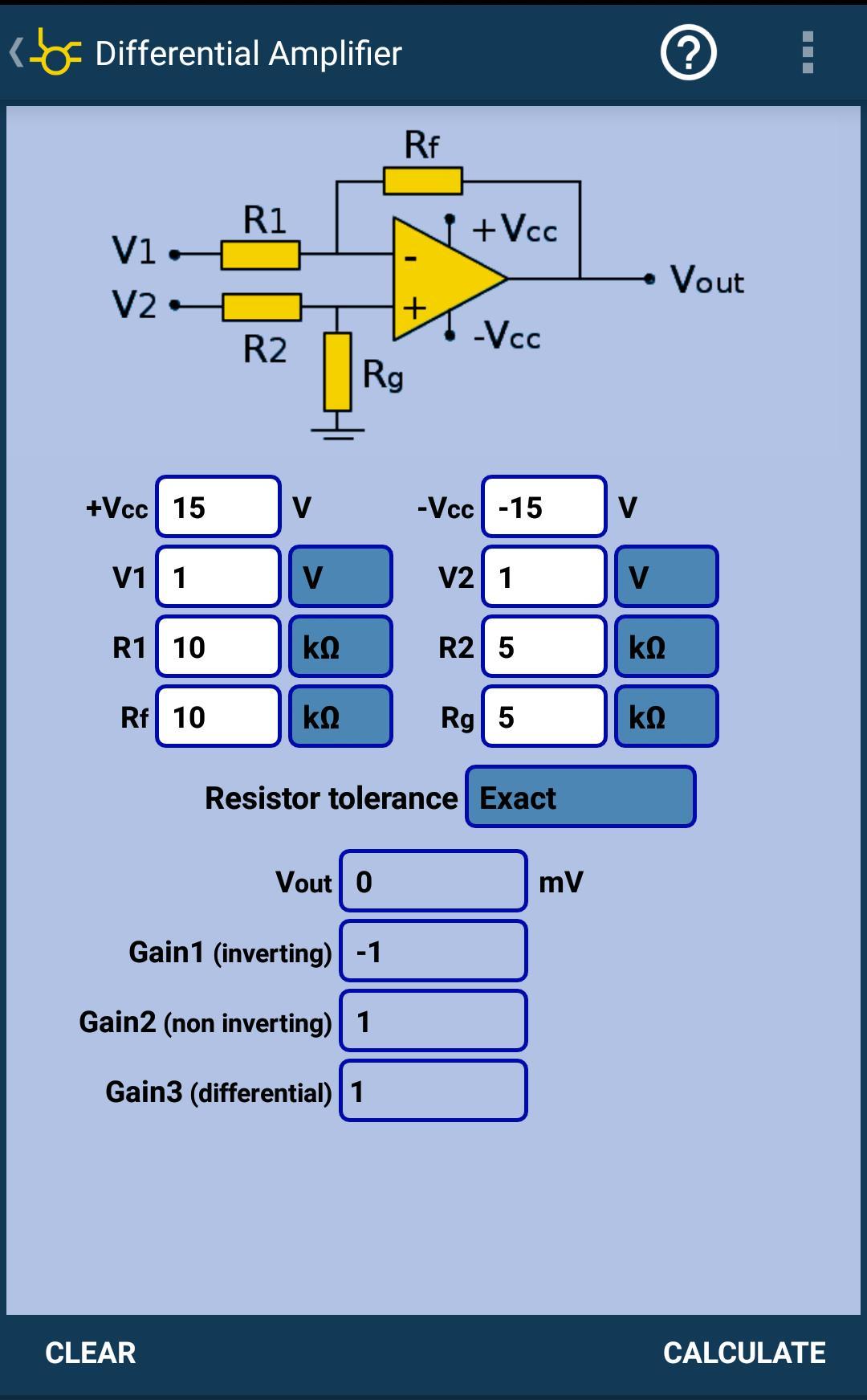 op amp non investing amplifier calculator app