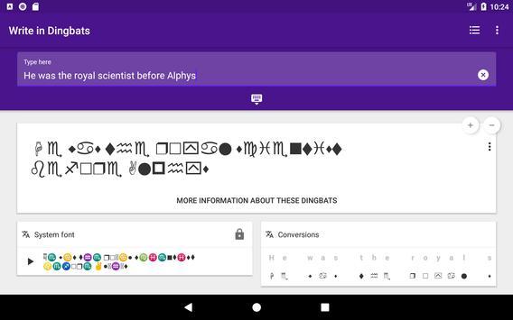 Gaster Dingbats: Wingdings translator & keyboard Ekran Görüntüsü 13