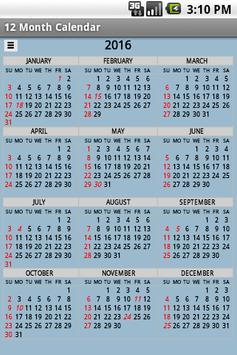 Twelve Month Calendar 截圖 4