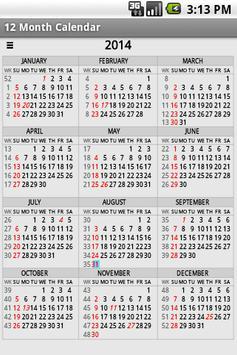 Twelve Month Calendar 截圖 6
