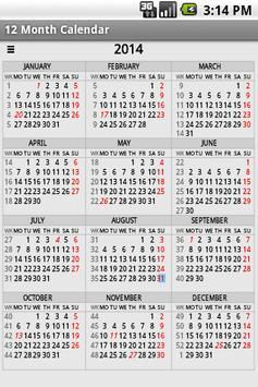 Twelve Month Calendar 截圖 7