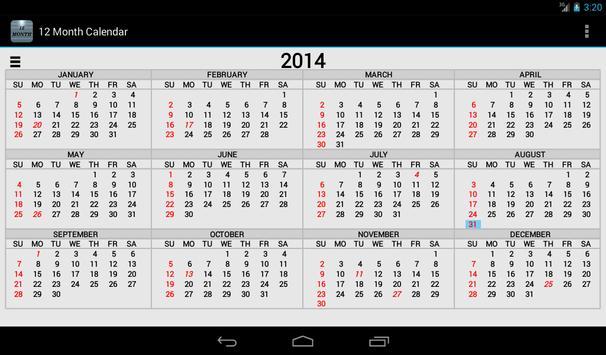Twelve Month Calendar 截圖 8