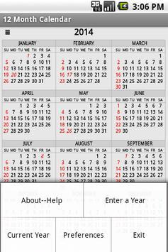 Twelve Month Calendar 截圖 1