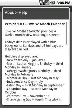 Twelve Month Calendar 截圖 2