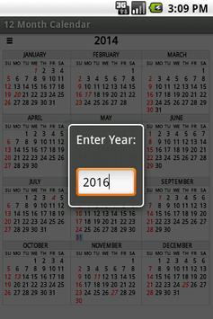 Twelve Month Calendar 截圖 3