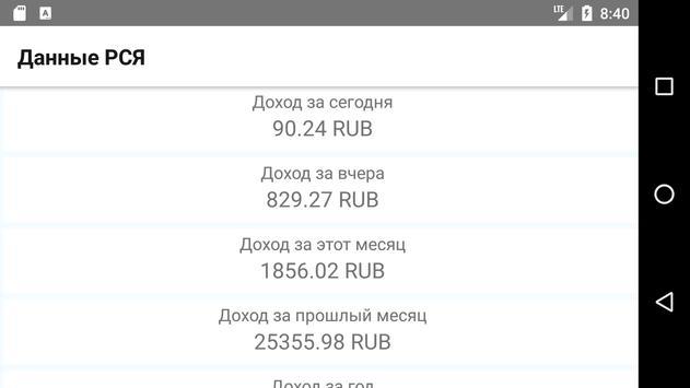 Данные РСЯ screenshot 2