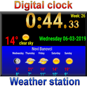 Full screen digital clock with weather station icon