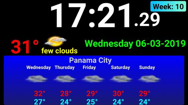 Full screen digital clock with weather station screenshot 2