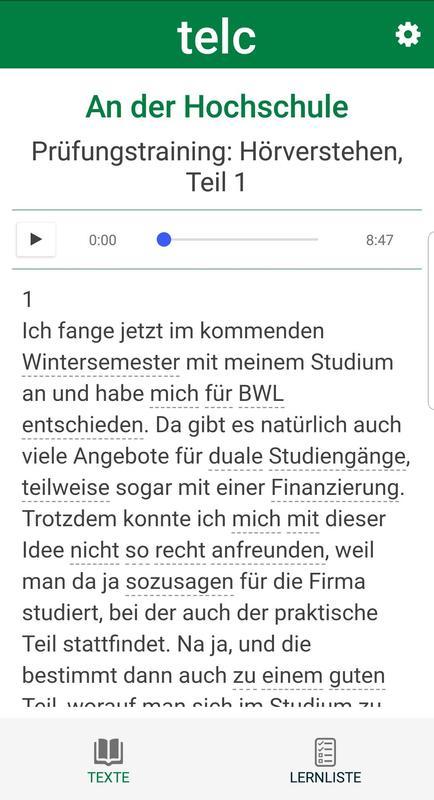 Telc Deutsch C1 Wortschatz для андроид скачать Apk