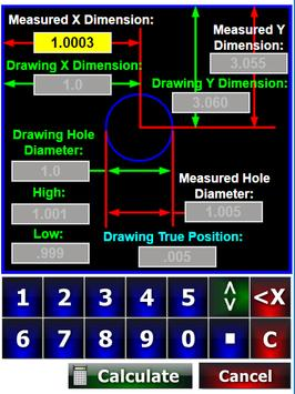 Machinist QC Inspection True Position Calculator screenshot 1