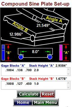 Sine Bar Setup  Compound Sine Plate Calculator poster