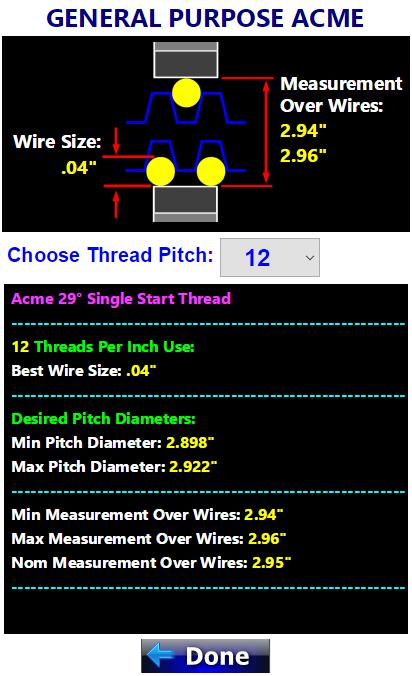 Threads 3 Wire Pitch Diameter Measuring Calculator for