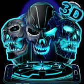 Neon Tech Evil Skull 3D Theme icon