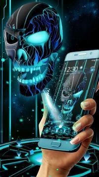Neon Tech Evil Skull 3D Theme poster