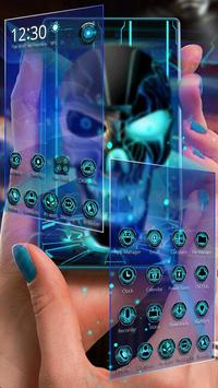 Neon Tech Evil Skull 3D Theme screenshot 1