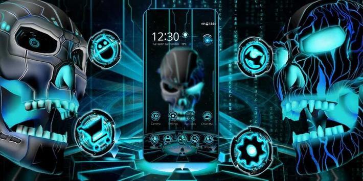 Neon Tech Evil Skull 3D Theme screenshot 3