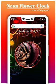 Neon Flower Clock Live Wallpaper screenshot 3