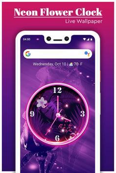 Neon Flower Clock Live Wallpaper screenshot 1