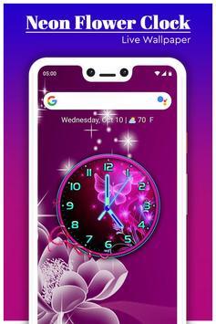 Neon Flower Clock Live Wallpaper screenshot 2