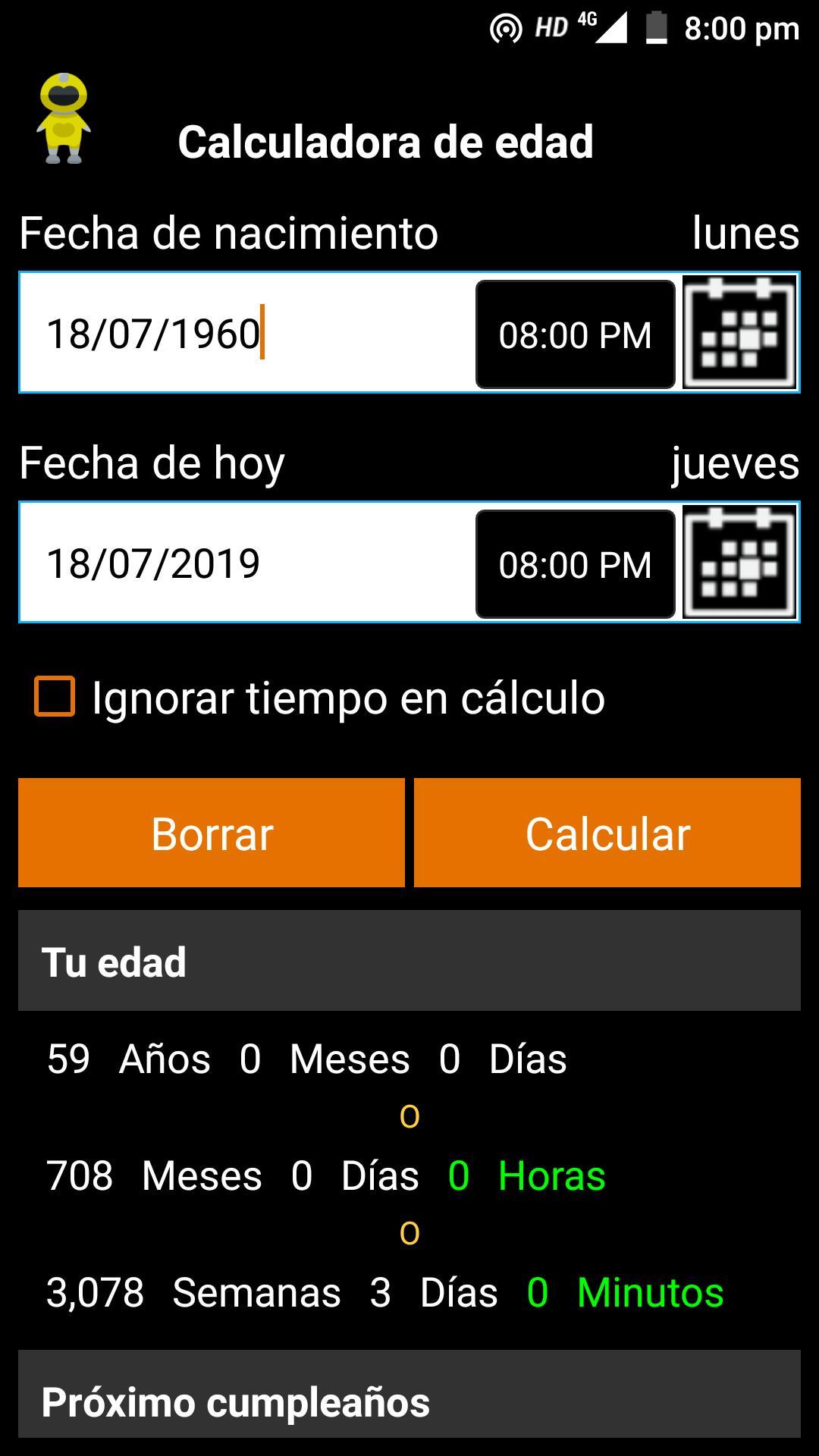 Resultado de imagen de Calculadora de edad - Birthday Date Saver