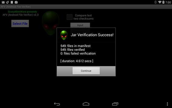 AFV File Verifier for Android™ screenshot 11