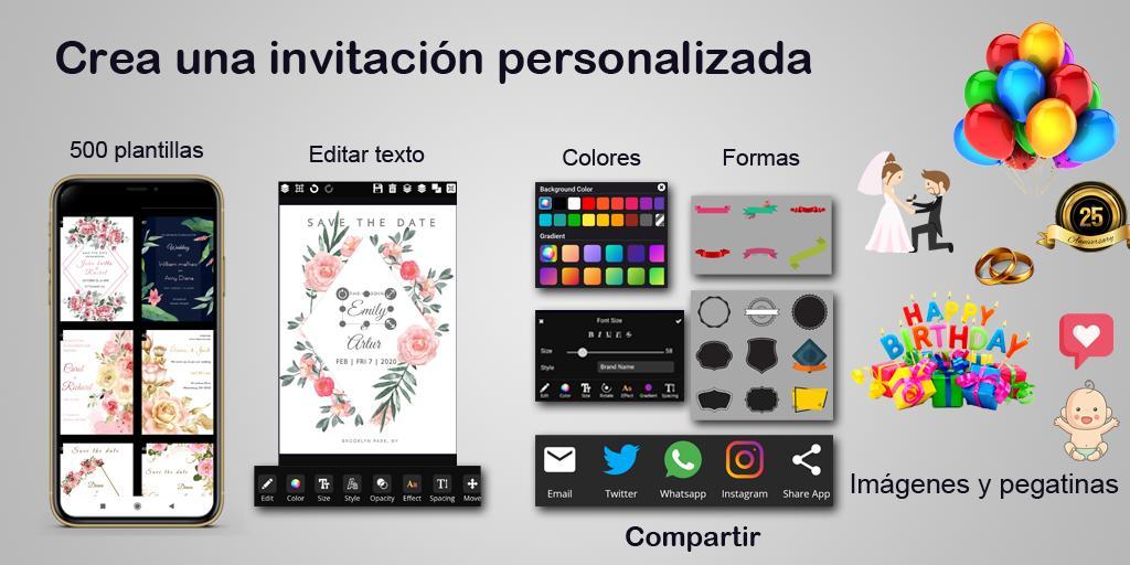 Crear Invitaciones 2020 Cumpleaños Boda Tarjetas For Android Apk Download