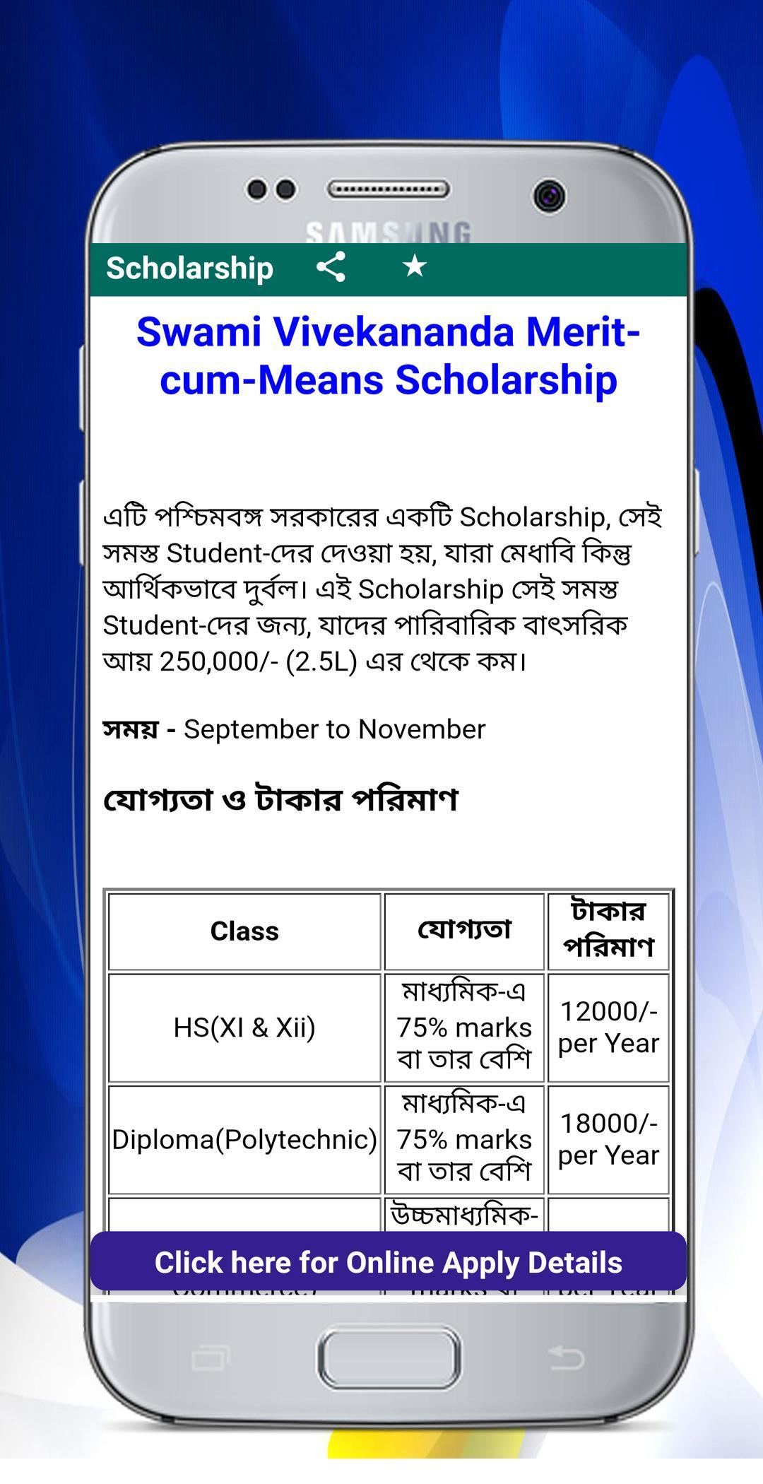 WB Scholarship and ST/SC/OBC Caste Certificate for Android
