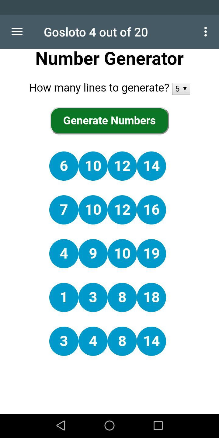 Russia Lottery Number Generator for Russia Lotto for Android