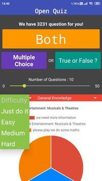 Open Quiz : Free Travia Game Multiple Choice & T/F screenshot 1