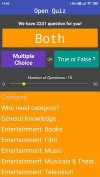 Open Quiz : Free Travia Game Multiple Choice & T/F screenshot 2
