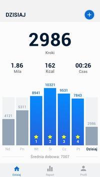 Krokomierz - bezpłatne liczenie kroków i kalorii plakat
