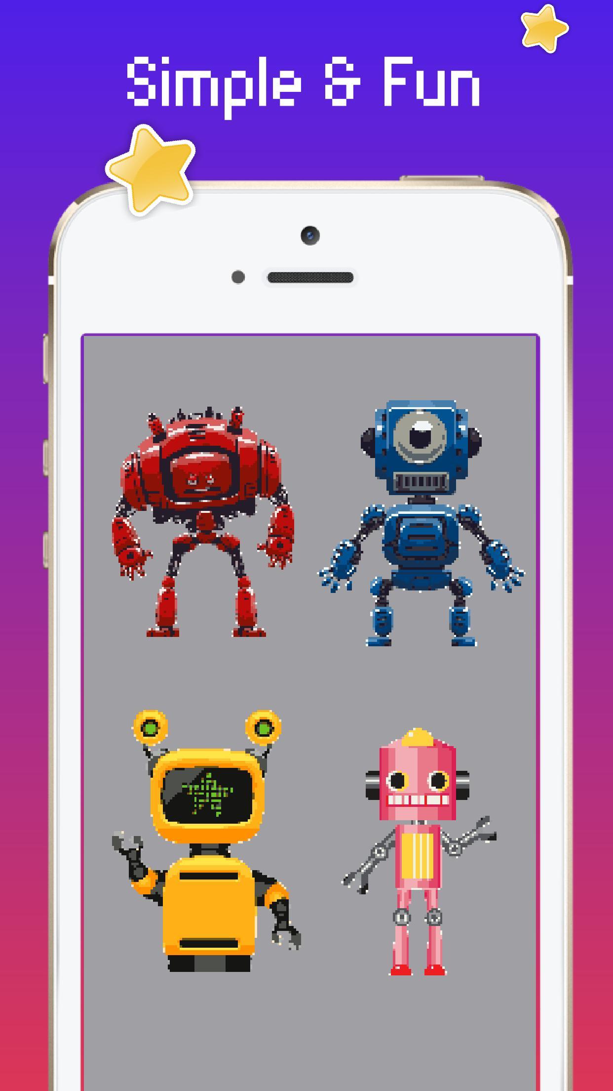Android Icin Sayiya Gore Robot Rengi Pixel Art Robot Boyama Apk