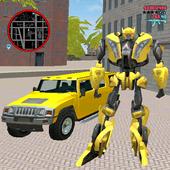 Golden Robot Car Transforme Futuristic Supercar