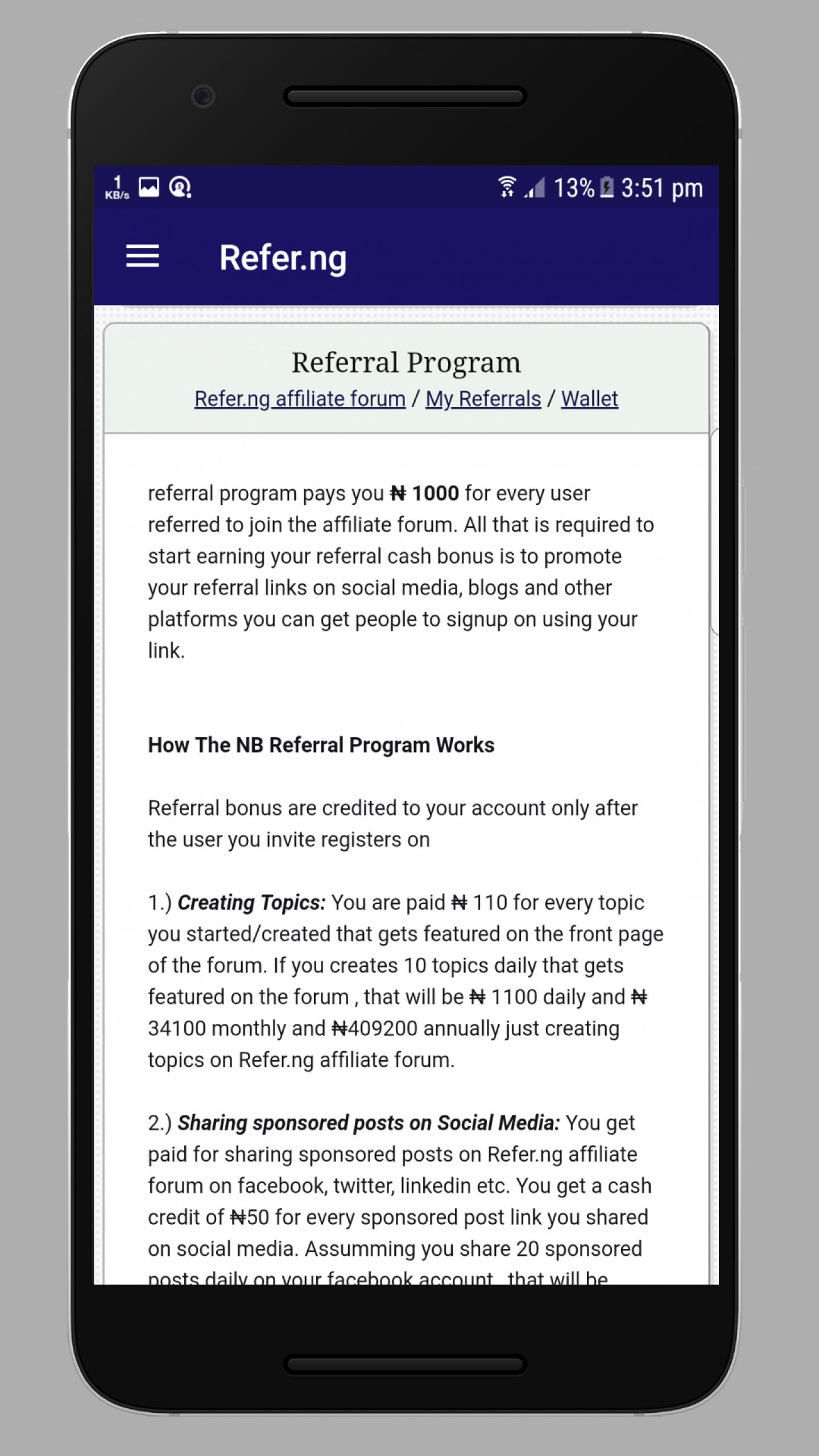 Refer NG – Get Paid & Cashout from Referral for Android