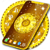 Gold 3D Analog Clock Wallpaper 图标