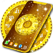 Gold 3D Analog Clock Wallpaper أيقونة