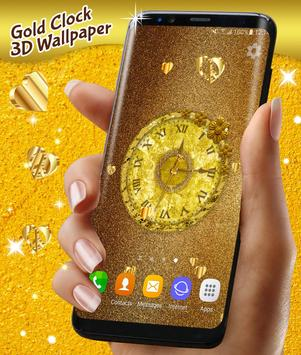 Gold 3D Analog Clock Wallpaper الملصق
