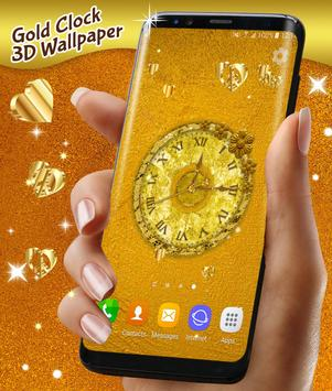Gold 3D Analog Clock Wallpaper screenshot 2