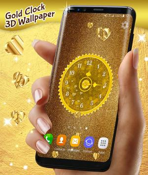Gold 3D Analog Clock Wallpaper screenshot 4