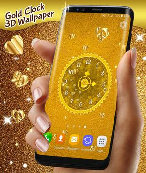 Gold 3D Analog Clock Wallpaper تصوير الشاشة 5