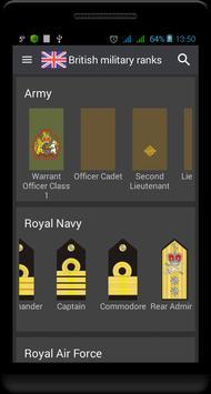 British military ranks poster