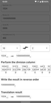 Calculator of number systems. Converter. Decision captura de pantalla 5