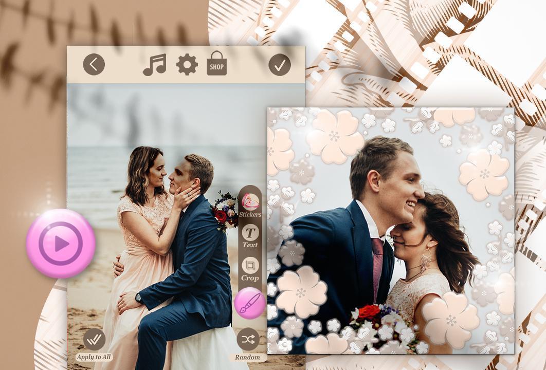 Слайд шоу из картинок на свадьбу