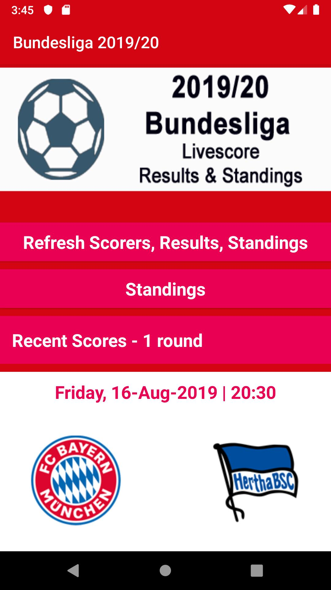 Live Scores Results 2019 20 Bundesliga For Android Apk