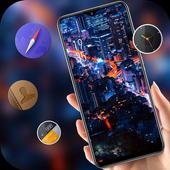 Landscape night city bright lights theme icon