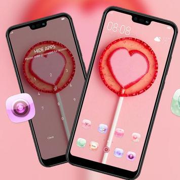 Pink love lollipop theme galaxy s10 sweet launcher screenshot 2