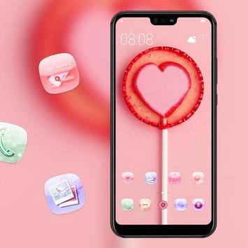 Pink love lollipop theme galaxy s10 sweet launcher screenshot 3