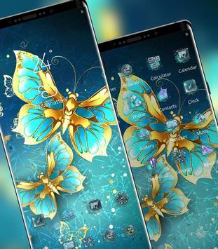 Blue Golden Butterfly Noble Symbol theme screenshot 1